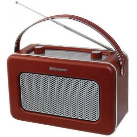 Roadstar Tra1958bg Vintage Draagbare Radio Burgundy Leather Finition