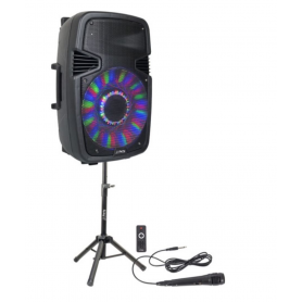 """Draagbare luidspreker  15"""" actieve speakerbox met LED, USB, SD, FM, BT +STAND, MIC, afstandsbediening -"""